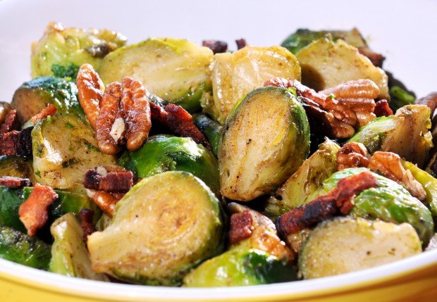 Serve up hardy Brussels sprouts with bacon and pecans, chestnuts