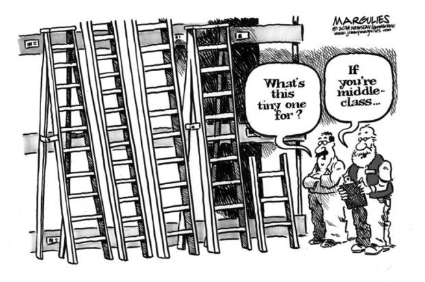Cartoon Ladder For Middle Class Is Noticeably Shorter
