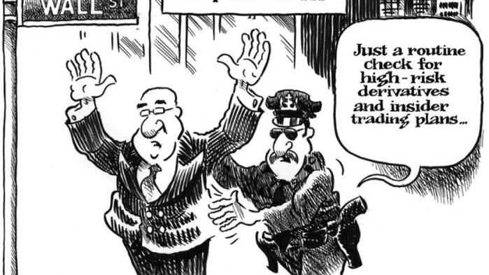 CARTOON: Enforcing laws on Wall Street means 'frisking