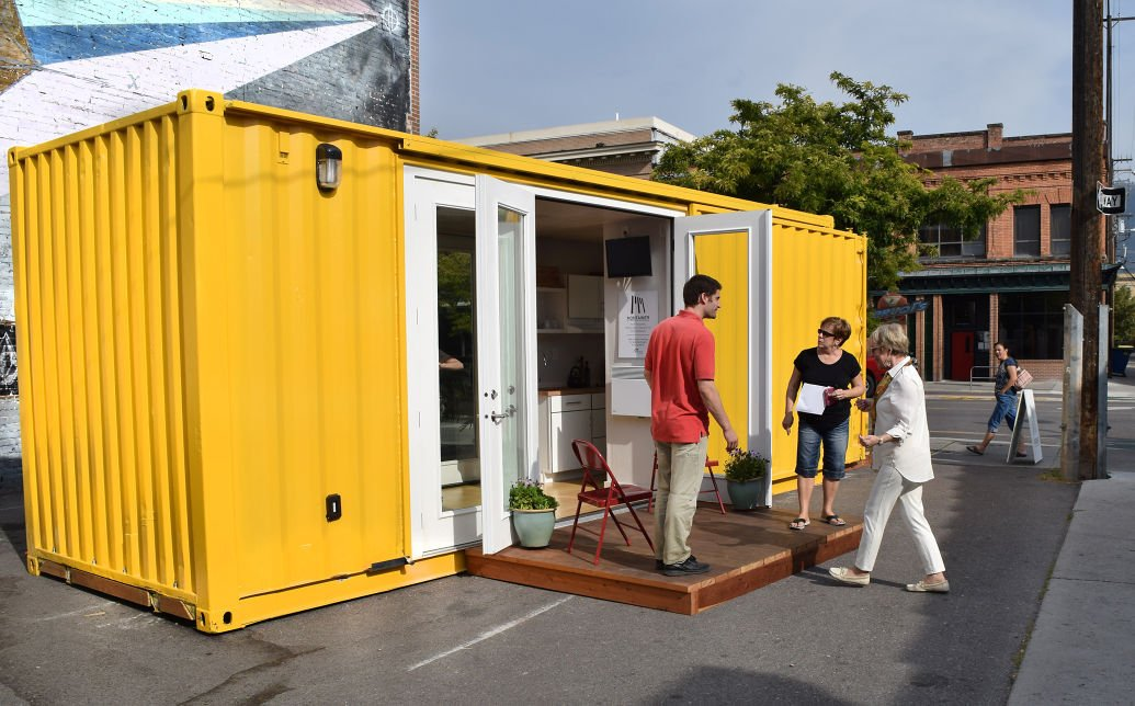 Cozy container from montainer on display in downtown missoula local - Shipping container homes chicago ...