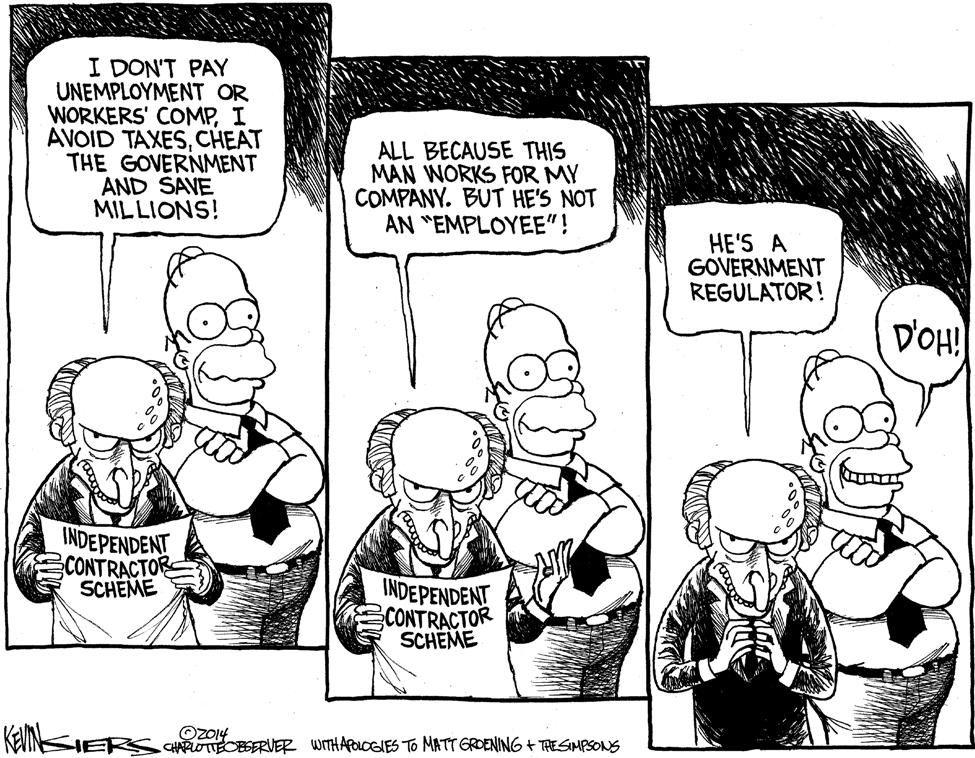 Cartoon Government Regulators In Independent Contractor