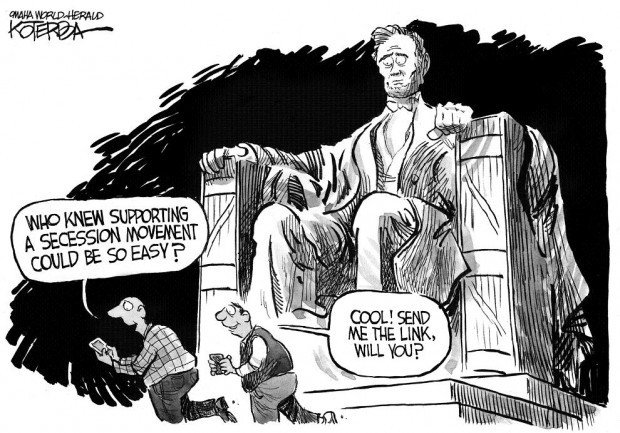 Cartoon Secession Petitions Threaten To Raise Lincoln