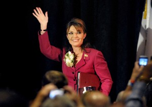 Sarah Palin takes the stage before a crowd of some 1,600 at a Teen Challenge ...
