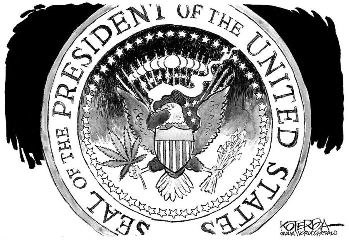 Cartoon presidential seal now includes image of marijuana leaf