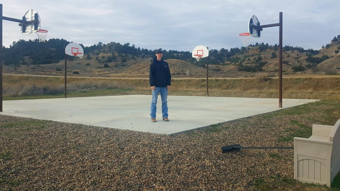 Scout from glendive gets basketball court built at hell for Built in basketball court
