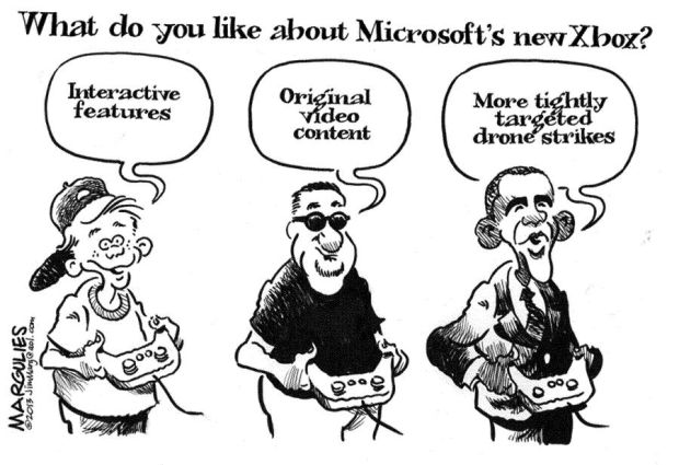 CARTOON  Obama among admirers of new Xbox for its targeting    Obama Playing Xbox