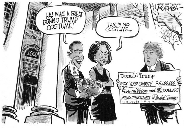 Cartoon Trump 500 000 Check Are No Halloween Prank On