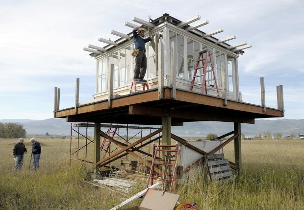 Lookout tower replica going up at forest service museum for Fire tower cabin plans
