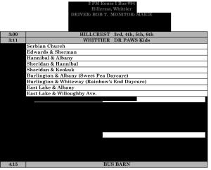 List of Butte School District 2014-15 bus routes