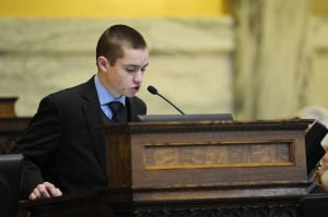 Tyler Phillips, 18, enjoys job as House bill reader
