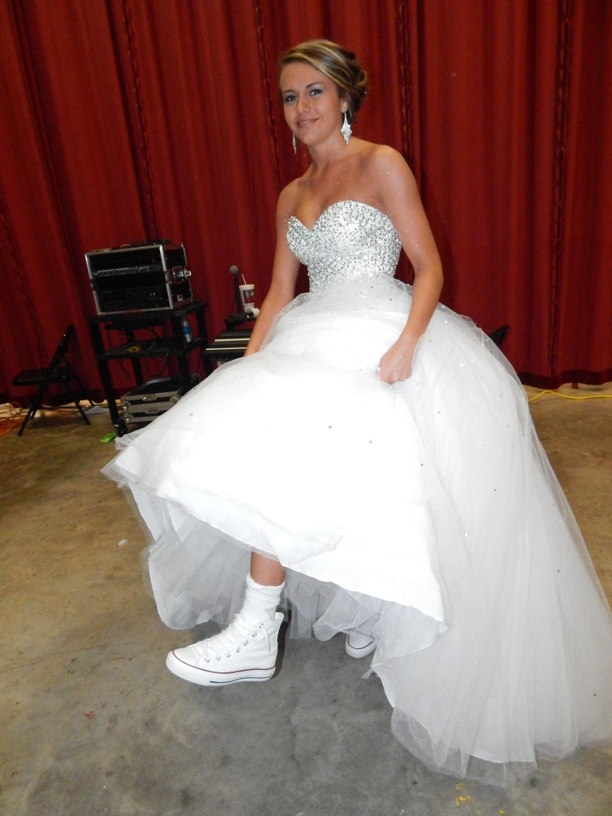 Gown- crown and sneakers — Hilldale basketball homecoming queen ...
