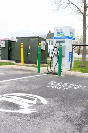<p>Electric car charging stalls like the one seen here at the Cecilton Royal Farms will likely become more common as infrastructure growth expands around the state.</p>