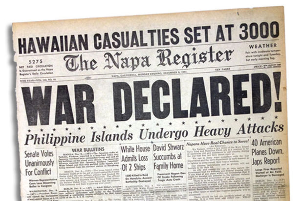 Napa 150 Register front page, U.S. declares war on Japan