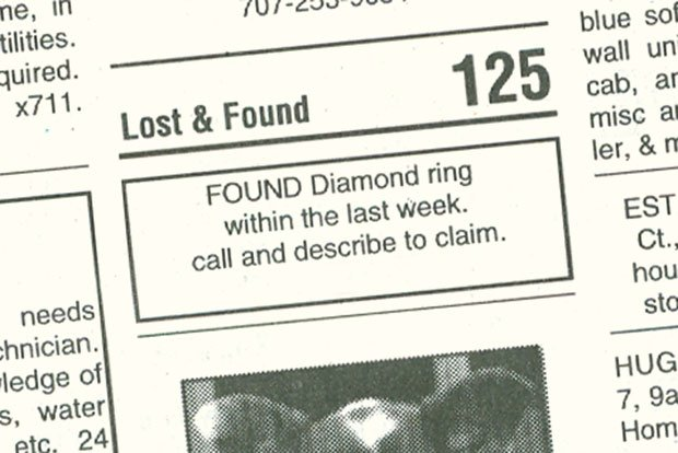 how to write lost and found advertisement