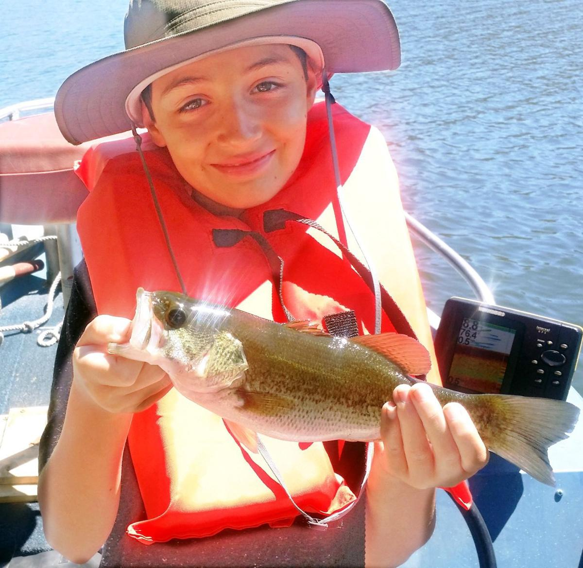 The fishing report fifth grader lands first largemouth for Lake hennessey fishing