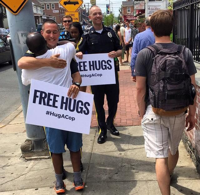 Spreading the love: NPD's 'Hug a Cop' campaign replicated