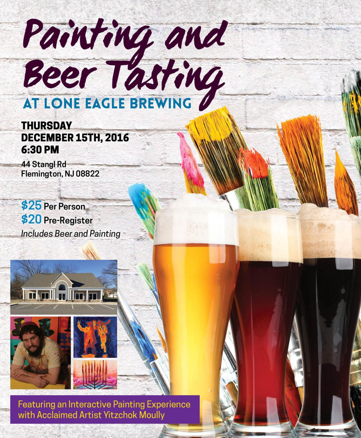 Chabad of Hunterdon to host painting and beer event at Lone Eagle Brewery