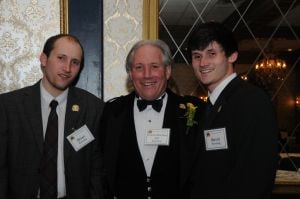 <p>Morris County Sr. Patrick's Day Parade Grand Marshal Jeff Rawding was feted  Friday night at the Madison Hotel in Convent Station. Rawding, center, is flanked by his two sons, Brian Patrick Rawding, left, and Kevin Michael Rawding..</p>