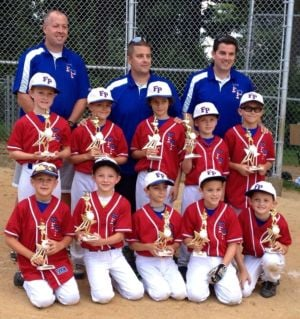 <p>Celebrating their NPGL North Bracket Championship on TUesday are Florham Park 8U Summer All-Star members, front row from left: Jason Grzymala, Johnny Karpinski, Kenny Scaglione, Dylan Peterson, and Dylan Welby; back row, from left: Noah Burmeister, Brandon Guiliana, Val Della Grazia, Ryan Ciasullo, and Nick DiGeronimo; top row, from left: Coaches Mark Grzymala, Larry Ciasullo, and Bruce Peterson. Not pictured are team members Daniel Kelly, Kyle Hahn, Jack Lowinger, Liam Bill, and Luke Riordan.</p><p></p>