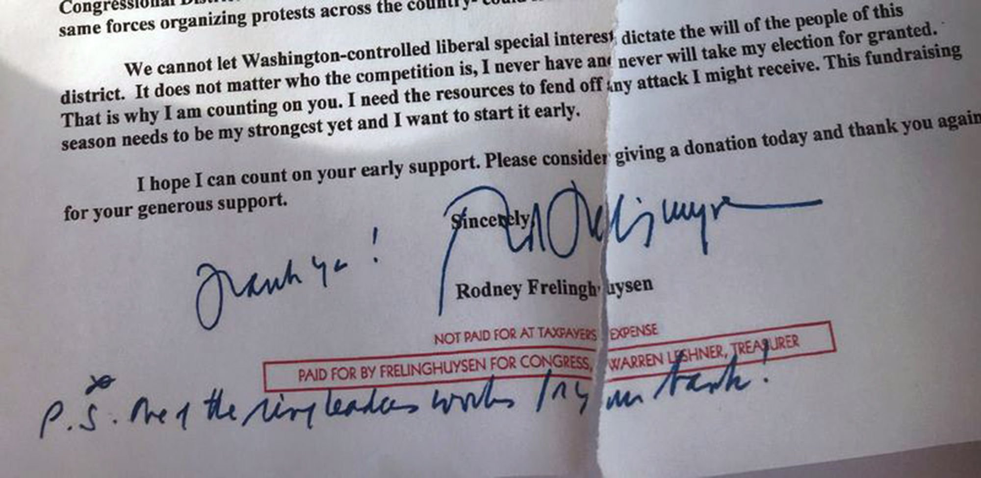 Congressman Rodney Frelinghuysen, R-11, singled out a local woman as a member of an activist group opposing him to her employer's board of directors in March