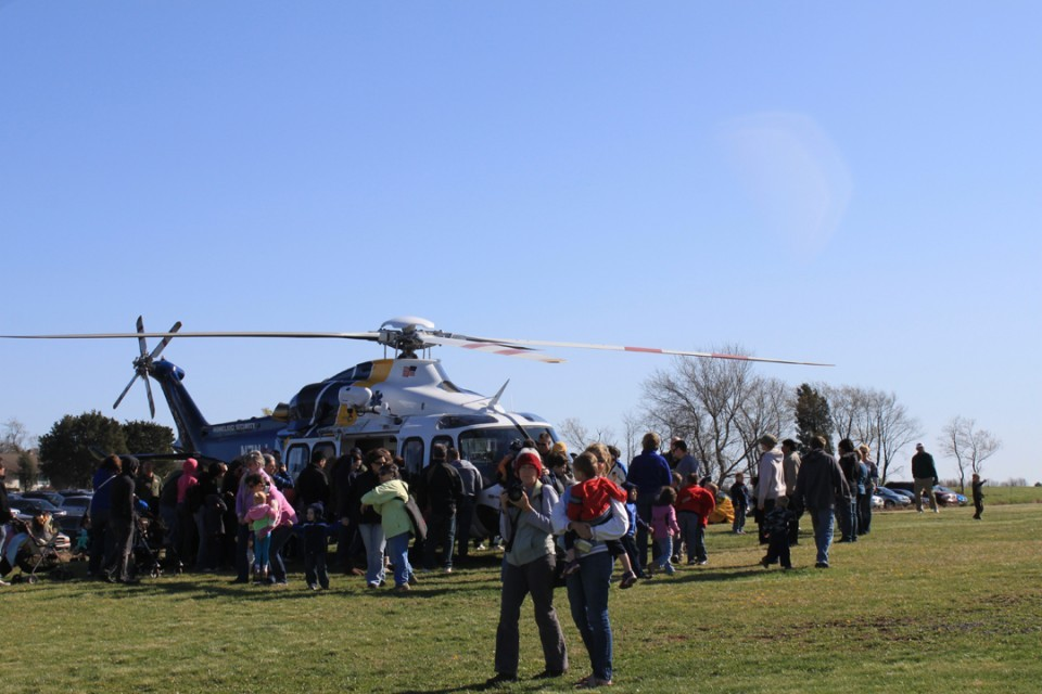 Visitors check out a Medivac helicopter at the Easter Bunny Fly-in event