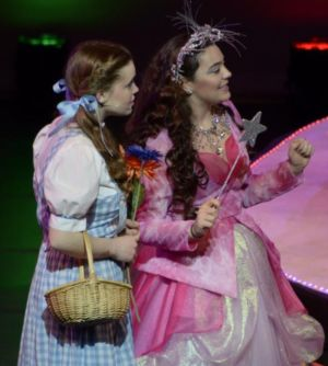 Dorothy, played by Andi Fairchild, left, and Glinda, played by Lauren Farnell