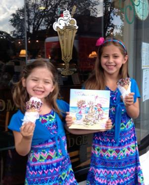 """<p class=""""Cutline"""">Carly, 5, left, and Ava Grossman, 7, of Franklin Lakes said they enjoy Fancy Nancy books and Fancy Nancy ice cream now available at The Creamery on South Street, Morristown, a supporter of the Morristown Festival of Books coming later this month.</p>"""