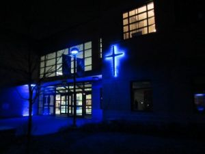 <p>Caldwell College decorated its campus in blue lights for World Autism Awareness Day on Wednesday, April 2. The Center for Autism and Applied Behavior Analysis helps teach educators year-round.</p>