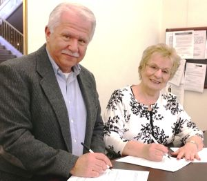<p>   <strong>Madison Borough Council President Robert Landrigan and Councilwoman Carmela Vitale, incumbent candidates for re-election, file their nominating petitions March 31 at the office of Borough Clerk Elizabeth Osborne to run as a team in the Democratic primary election June 3.</strong></p>