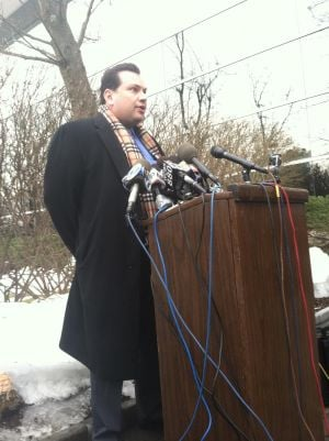 <p>Roseland attorney Angelo Sarno meets reporters during Wednesday's press conference concerning Rachel Canning's lawsuit against her parents.</p>
