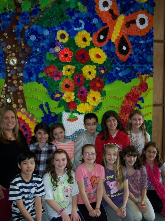Mount olive kids render van gogh in many bottle caps for 9 11 mural van