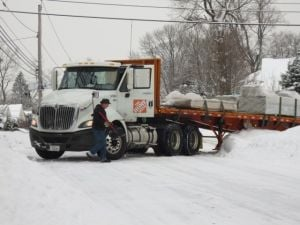 Snowbound truck blocks Park Avenue
