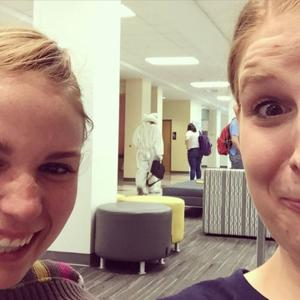 <p>A man in a bunny suit passes by at the bemusement of two Utah State University students in this photo posted on Instagram this week.</p>