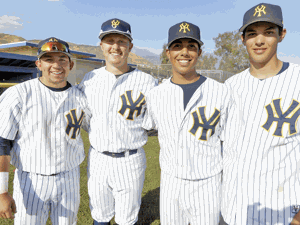 <p>YHS Baseball players Erik Sandoval, Hunter Reade, Mauro Owens and William Reyes</p>