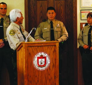 "<p class=""p1"">Sheriff Antonio Estrada Sheriff's presents deputies Oscar Reyna, Jesus Castillo, Jr., and Eliza Romo de Vivar to the County Board of Supervisors after completing a four-month training program.</p>"