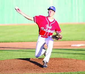 <p>Bryce Byrn pitches for the North Platte First Nationals Seniors on Tuesday against the Hershland Trojans at Bill Wood Field. North Platte won 9-1 in five innings.</p>
