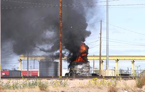 Fuel tank burns at Bailey Yard