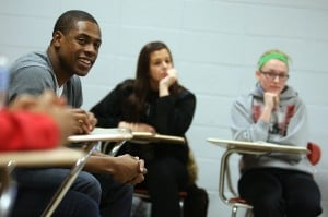 Granderson visits T.F. South to talk to students about goals, community and even toilets