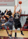 Purdue Calumet's Madison Gervais, right, works for a rebound against Calumet College's Rebecca Arredondo in the second half Thursday night.