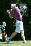 Valparaiso alum Kyle Meihofer tees off on No. 5 Thursday during the Northern Amateur at Sand Creek.