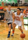 LaPorte's Gregory Littlejohn tries to get past Michigan City's Lucas Daurer on Saturday.