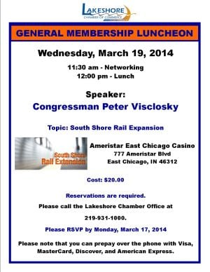 Visclosky To Address South Shore Rail Expansion