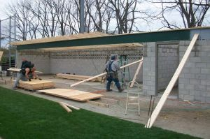 Local carpenters union rebuilds baseball dugout