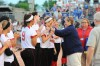 Portage's softball team stands in line to receive their state championship medals Saturday after they defeated Franklin Central 2-0 in the Class 4A title game.