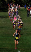 Girls cross oountry runners take part in the Crown Point Regional on Saturday.