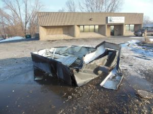 Crash destroys sign at Gary animal shelter