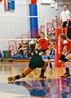 Washington Township's Emily Holcomb digs during Saturday's semifinal match in the Class A Caston Semistate.