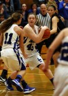 With seconds left in the game, Lake Central's Lindsay Kusbel takes the ball away from Lowell on Saturday night.