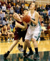 Chesterton's Kelsey Conway tries to steal the ball from Valparaiso's Stephanie Parker in the first half Friday night.