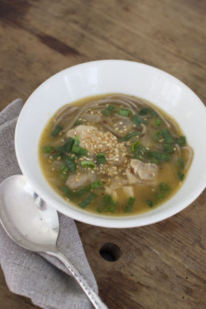 A chicken noodle soup via Africa and Thailand